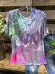 Color Short Sleeve V Neck Shirts & Tops