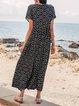 Black Short Sleeve Geometric Swing Dresses