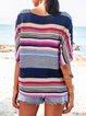 Flower Paneled Striped Vintage Crew Neck Shirts & Tops