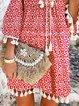 Red Floral-Print V Neck Floral 3/4 Sleeve Dresses