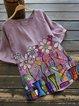 Violet Floral Short Sleeve Cotton-Blend Shirts & Tops