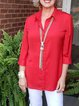 Red Casual Cotton Shirts & Tops