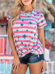 Grey Pink Striped Star Short Sleeve Knot Tops