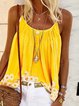 Yellow Sleeveless Printed Strapless Cotton Vests