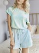 Casual Short Sleeve One-Pieces Romper