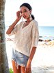 Apricot V Neck Half Sleeve Shirts & Tops