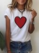 Vintage Short Sleeve Love Printed Crew Neck Plus Size Casual Tops