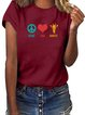Vintage Short Sleeve Giraffe Letter Printed Crew Neck Plus Size Casual Tops