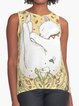 Cat & Floral Printed Casual Sleeveless Vest
