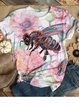 Pink Short Sleeve Animal Cotton-Blend Zebra-Print Shirts & Tops
