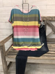 Plus size Short Sleeve Rainbow Stripes Shirts & Tops