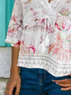 V Neck Floral Holiday Shirts & Tops