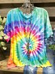 Multicolor Cotton-Blend Round Neck Casual Shirts & Tops