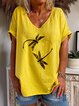 Yellow Casual Cotton Short Sleeve Shirts & Top