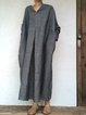 Long Sleeve Linen Plain Dresses