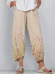 Khaki Floral Casual Cotton-Blend Pants