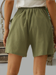 High Waist Cotton Solid Color Casual Short With Pocket