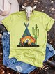 Lightgreen Floral-Print Round Neck Short Sleeve Shirts & Tops