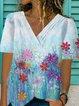 Light Blue Cotton Printed Short Sleeve Shirts & Tops