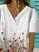 White V Neck Printed Casual Shirts & Tops