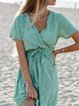 Green Short Sleeve Shift Polka Dots V Neck Dresses With Necklace
