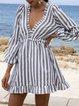 Gray Ruffled A-Line Long Sleeve Deep-V-Neck Mini Dresses