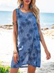 Blue Floral-Print Crew Neck Sleeveless Pocket Floral Mini Dresses