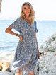 Blue Sexy A-Line Floral Dresses