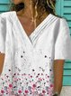 White V Neck Casual Short Sleeve Printed Shirts & Tops