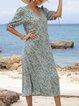 Lightgreen Half Sleeve V Neck Dresses