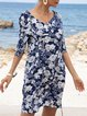 Brigth Blue Half Sleeve Shift Dresses