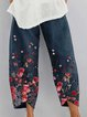 Navy Blue Cotton Printed Casual Pants