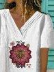 White Short Sleeve Printed Cotton V Neck Shirts & Tops