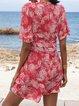 Rose Red Short Sleeve Ruffled V Neck Shift Mini Dresses