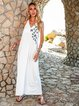 White Solid V Neck Swing Sexy Dresses