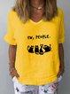 Cats Print Casual Linen Short Sleeve Shirts & Tops