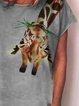 Plus Size Animal Crew Neck Vintage Shirts & Tops