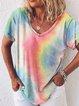 Multicolor Gradient Cotton-Blend Casual V Neck Shirts & Tops