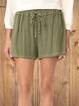 Green Plain Casual Cotton-Blend Shorts