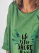 Green Crew Neck Cotton 3/4 Sleeve Shirts & Tops