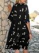 Black Bottom White Flower Half Sleeve V Neck Swing Mini Dresses