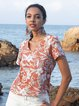 Red Floral V Neck Casual Short Sleeve Shirts & Tops