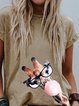 Khaki Short Sleeve Printed Round Neck Shirts & Tops