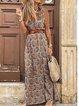 Multicolor Sleeveless Printed V Neck Geometric Dresses