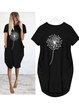 Short Sleeve Floral-Print Crew Neck Floral Dresses