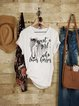 Vintage Short Sleeve Boho Statement Love Horses Letter Printed Crew Neck Plus Size Casual Tops