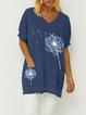 Dandelion Print Casual Cotton Shirts & Tops