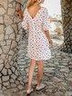 Purple Short Sleeve Floral Shift Paneled Mini Dresses