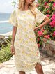 Yellow Crew Neck Long Sleeve Floral Holiday Dresses