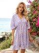 Purple Half Sleeve Gathered V Neck Floral Mini Dresses